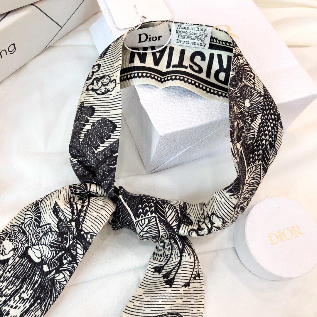 Dior新款小丝巾蓝色热带风情 Mitzah 丝巾(图8)
