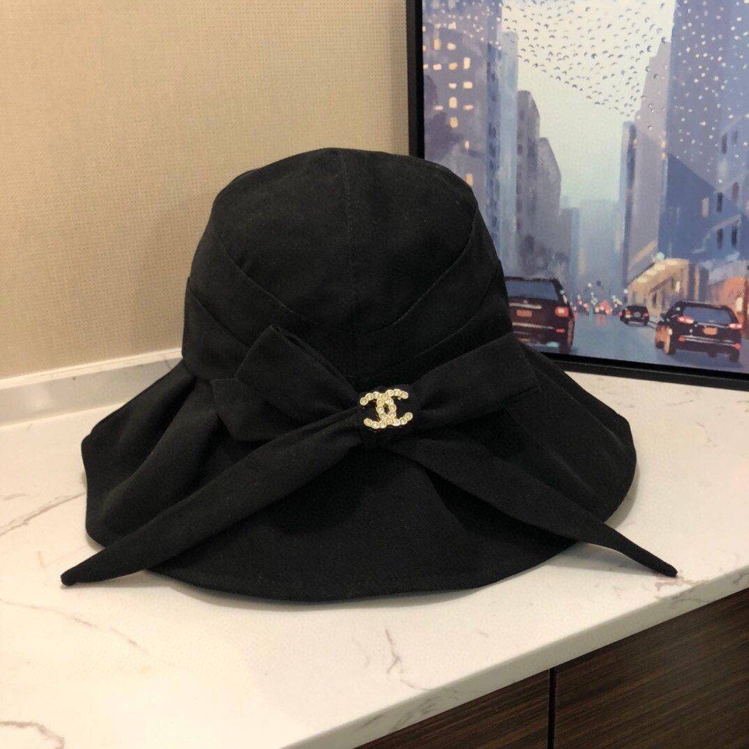 香奈儿CHANEL折边蝴蝶结纯色渔夫盆帽