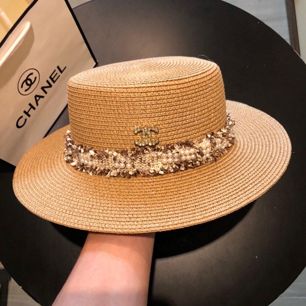 CHANEL香奈儿新款珍珠帽檐草帽礼帽
