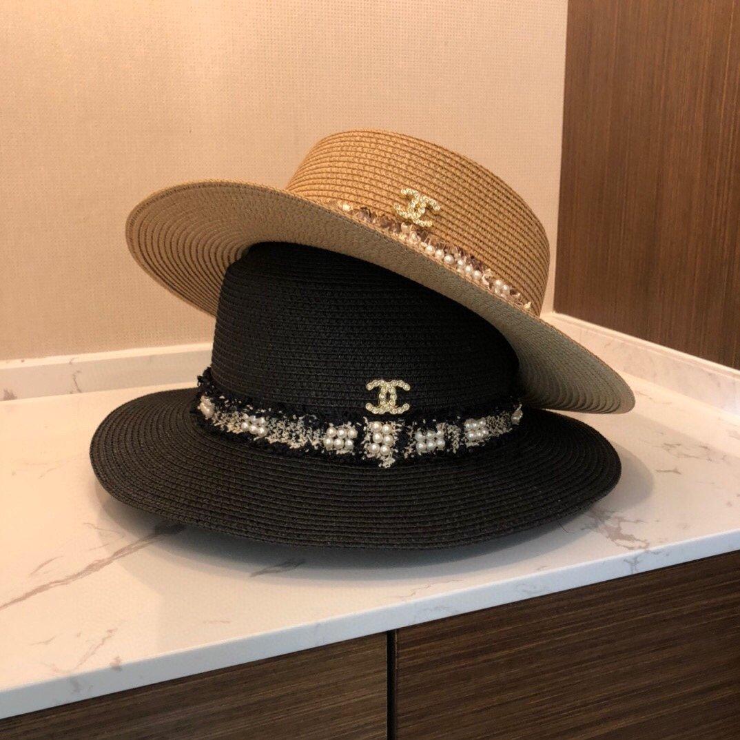 CHANEL香奈儿新款珍珠帽檐草帽礼帽(图1)