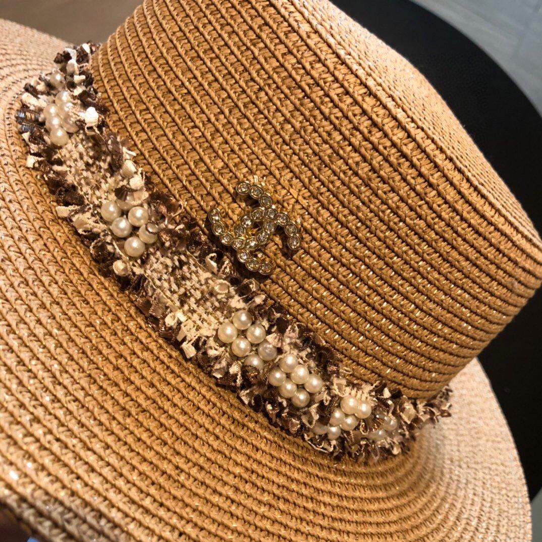 CHANEL香奈儿新款珍珠帽檐草帽礼帽(图5)