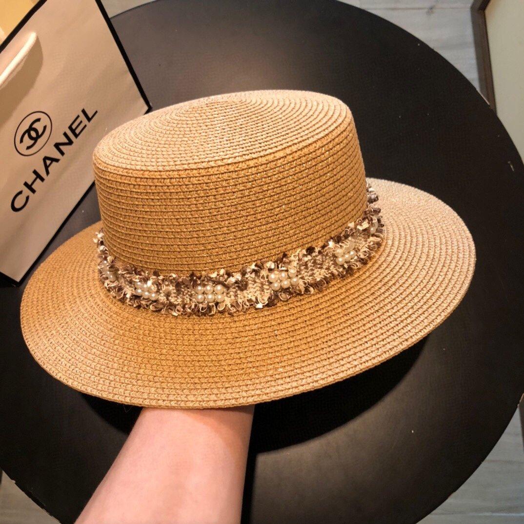 CHANEL香奈儿新款珍珠帽檐草帽礼帽(图4)