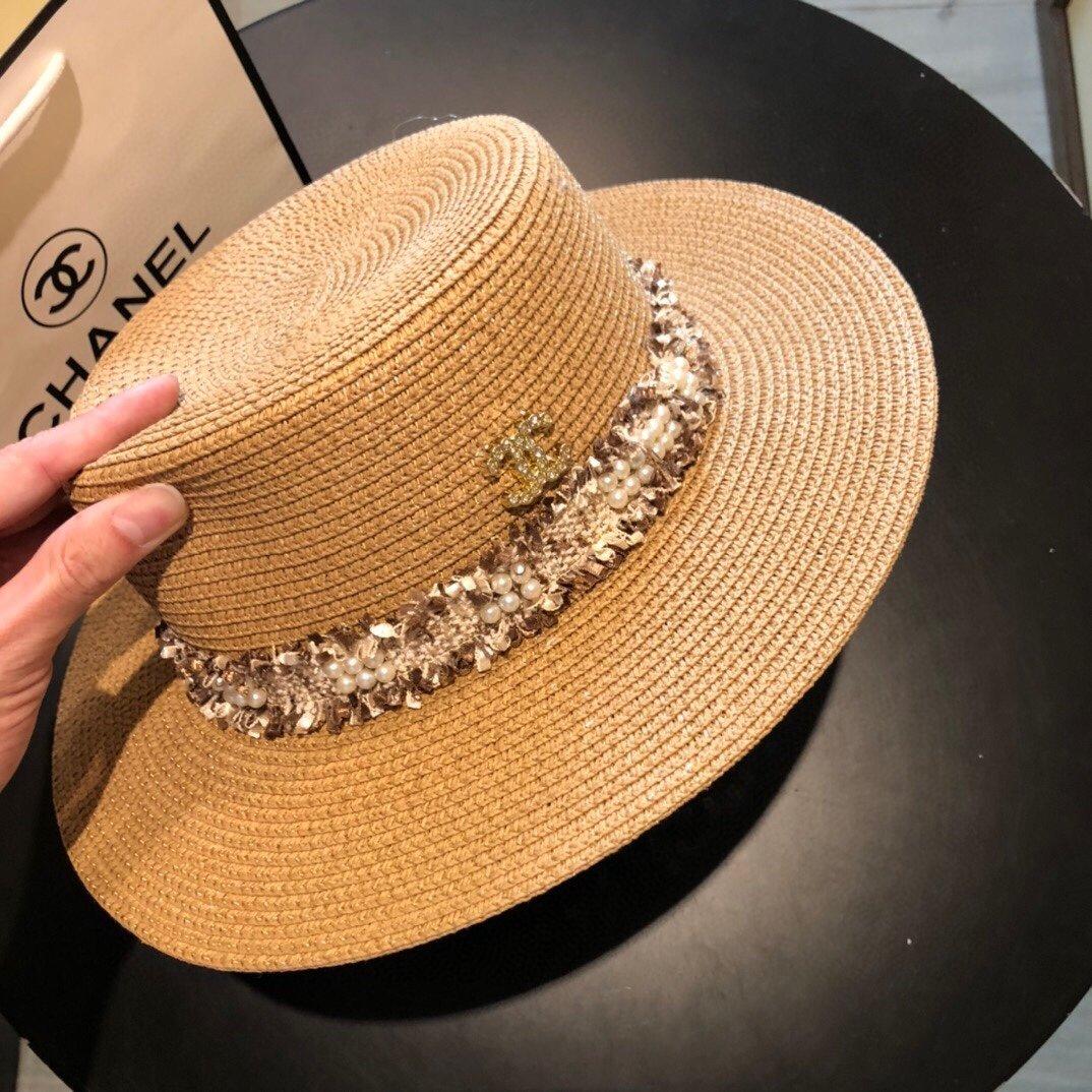 CHANEL香奈儿新款珍珠帽檐草帽礼帽(图3)