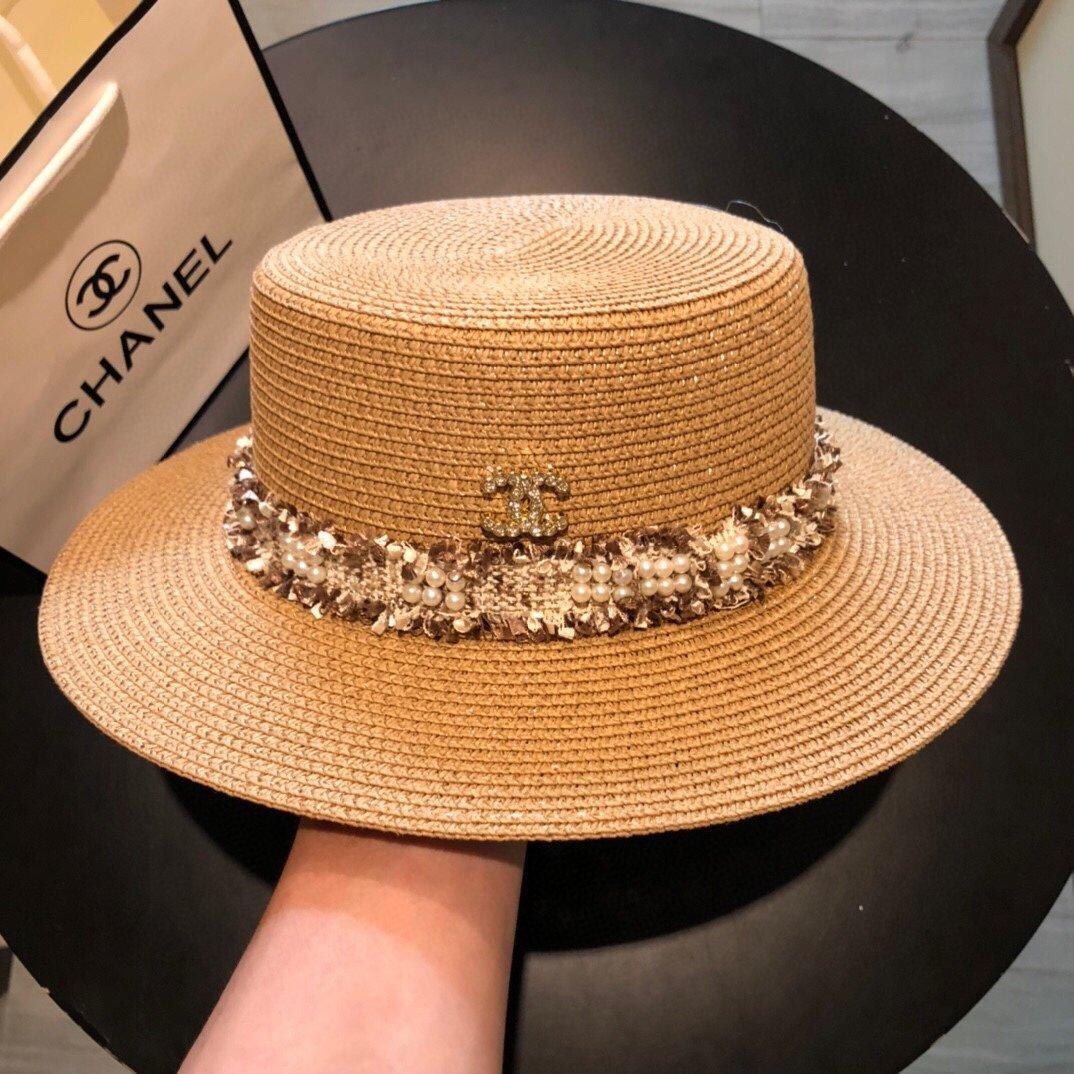 CHANEL香奈儿新款珍珠帽檐草帽礼帽(图6)