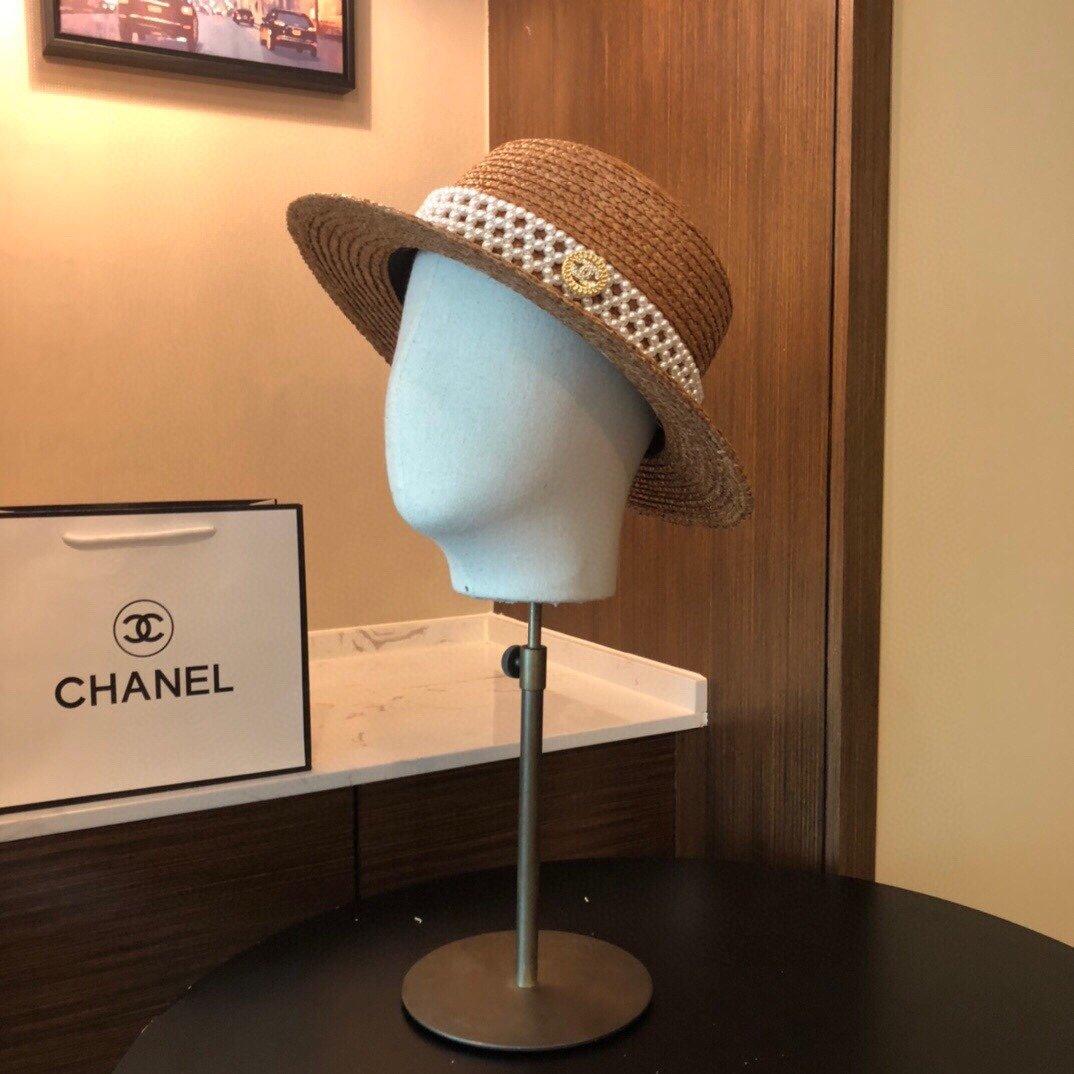 CHANEL香奈儿新款珍珠帽檐草帽礼帽(图8)