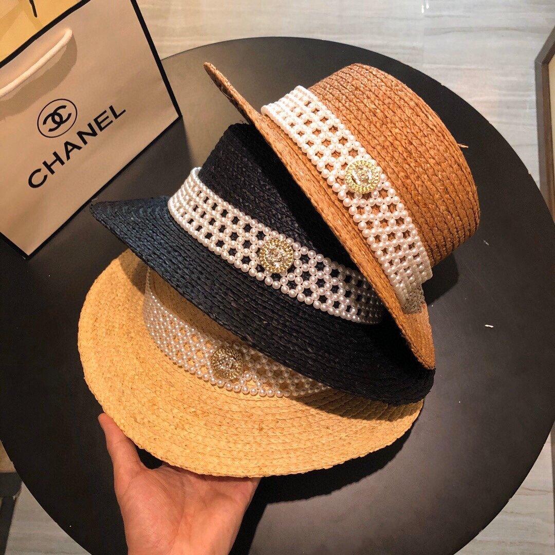 CHANEL香奈儿新款珍珠帽檐草帽礼帽(图2)