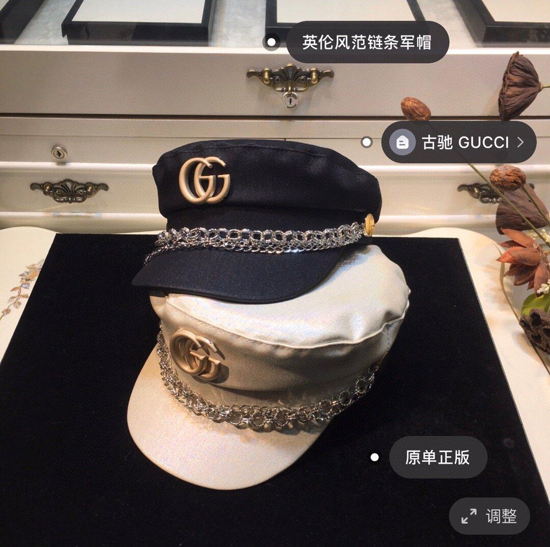 古奇GUCCI链条军帽专柜同款(图2)