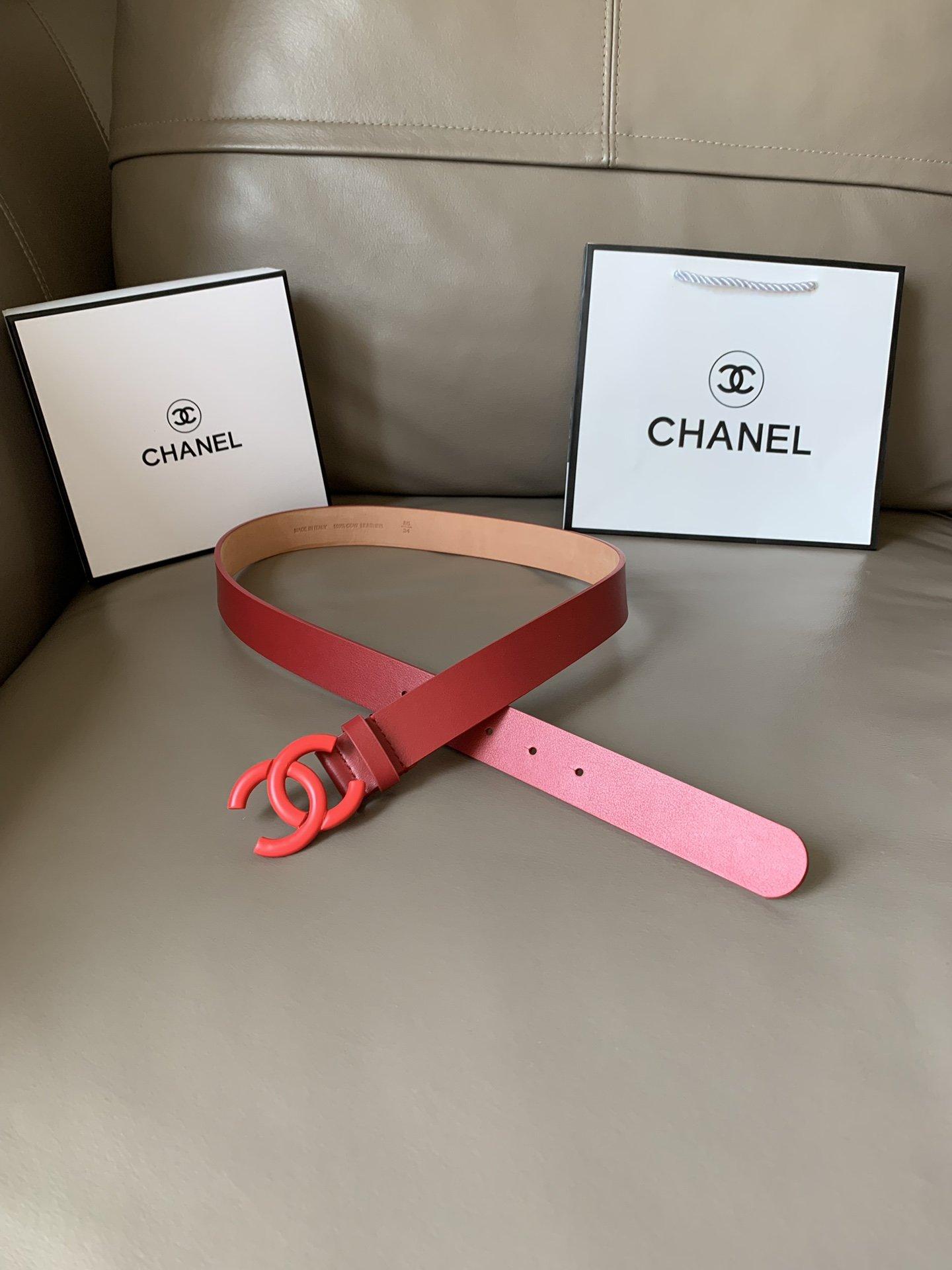 Chanel(香奈儿) 高端女士优雅腰带双C纯铜烤漆双面(图1)