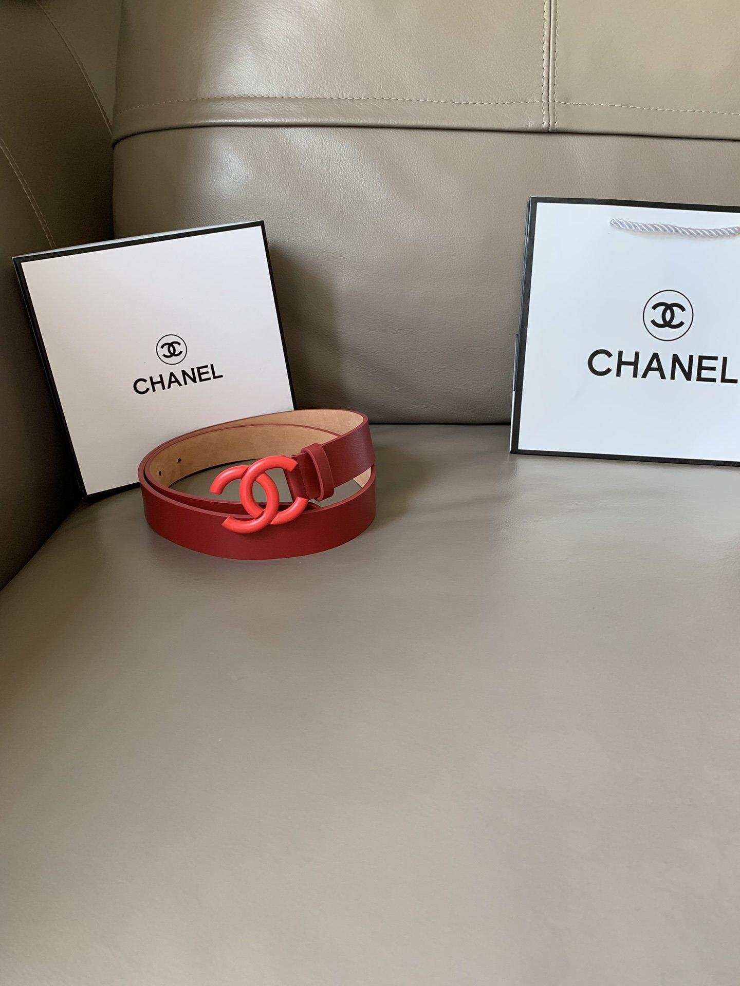 Chanel(香奈儿) 高端女士优雅腰带双C纯铜烤漆双面(图5)