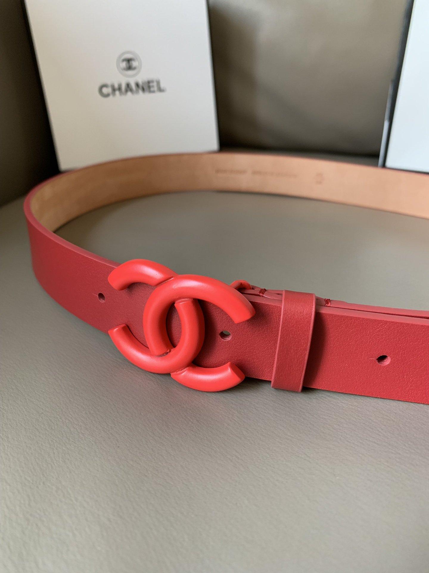 Chanel(香奈儿) 高端女士优雅腰带双C纯铜烤漆双面(图6)