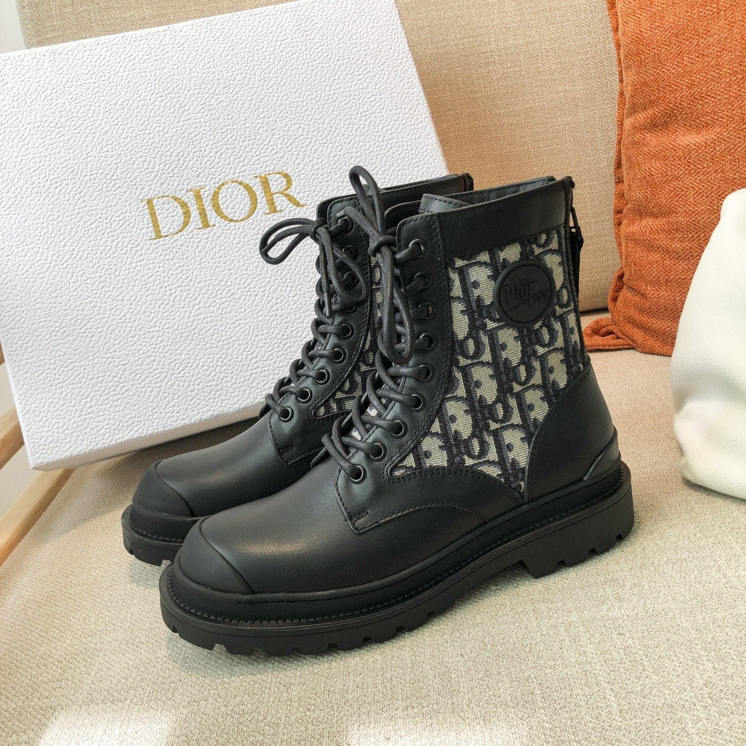 Dior高版本情侣 款2020ss秋冬新款字母厚底系带机车靴,秋冬T台走秀同款(图3)