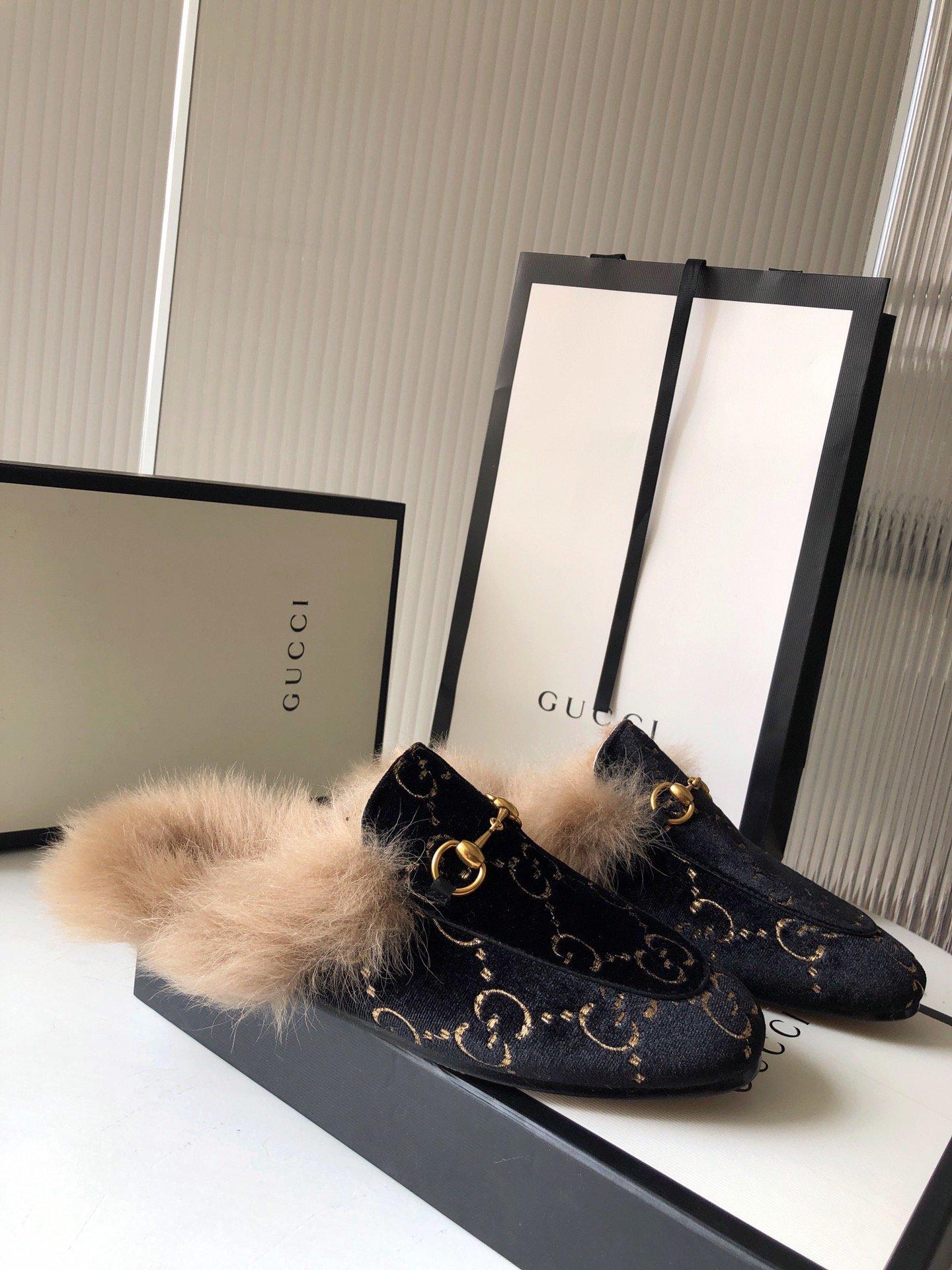 Gucci古奇 羔羊毛穆勒鞋双GG绣明星同款(图11)