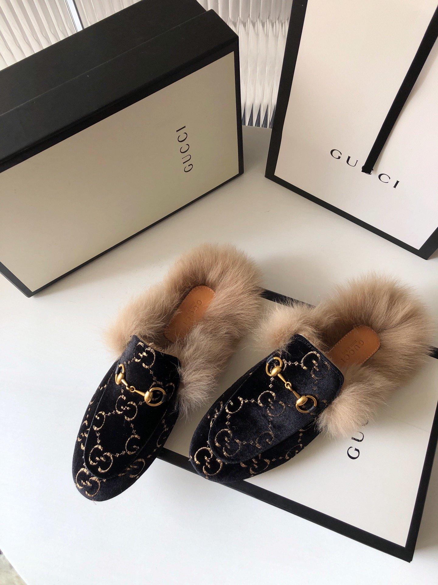 Gucci古奇 羔羊毛穆勒鞋双GG绣明星同款(图6)