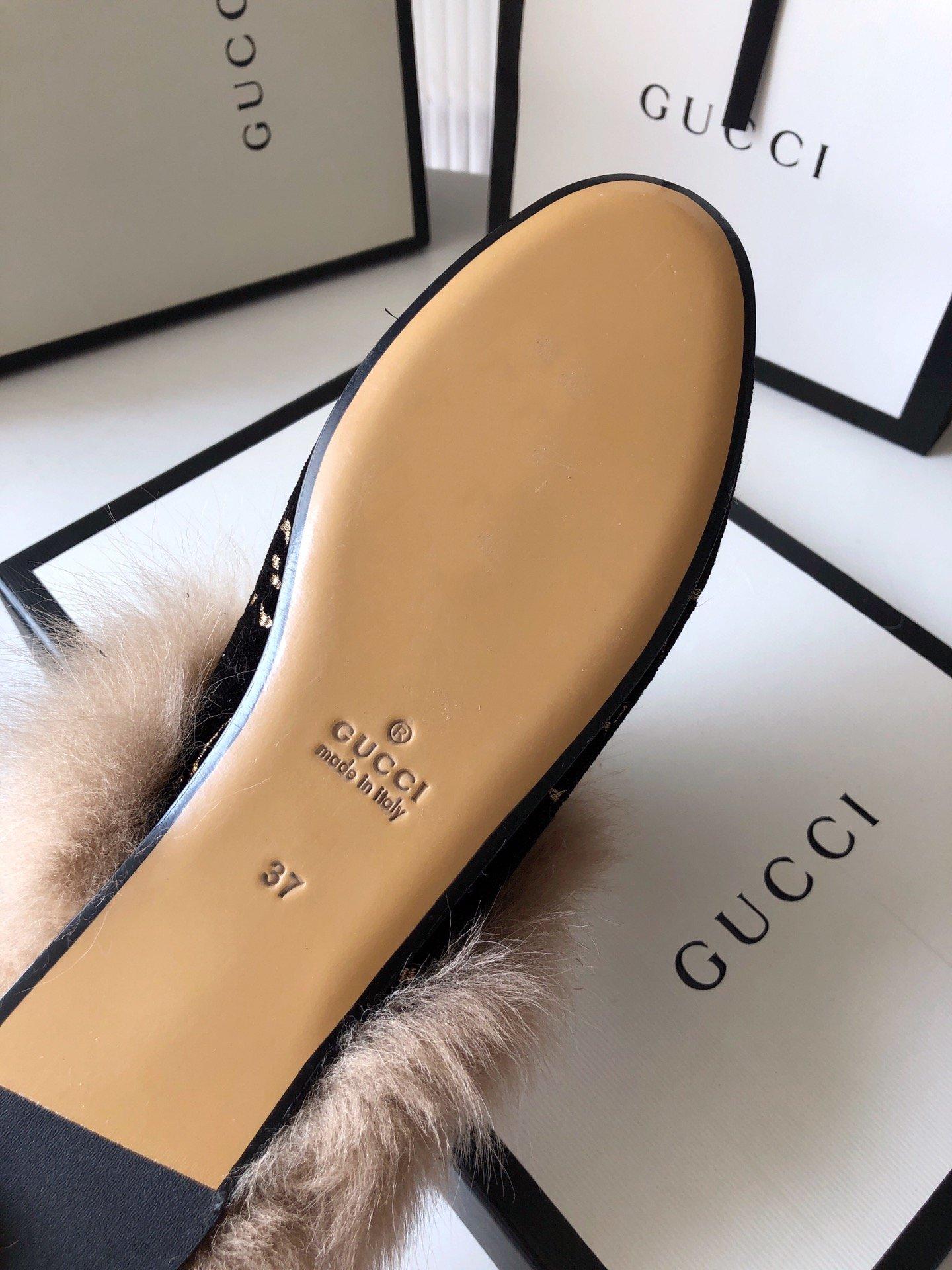 Gucci古奇 羔羊毛穆勒鞋双GG绣明星同款(图12)