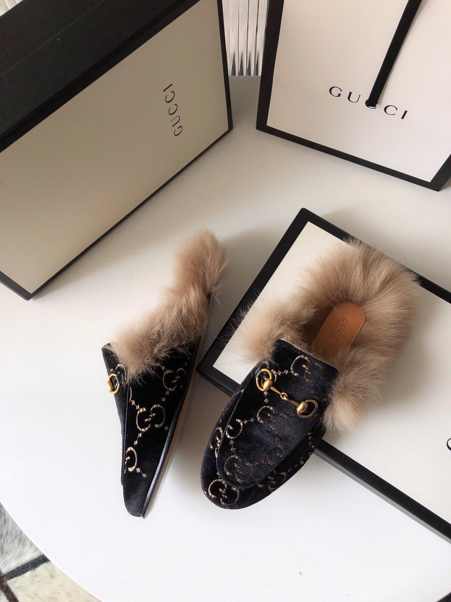 Gucci古奇 羔羊毛穆勒鞋双GG绣明星同款(图7)