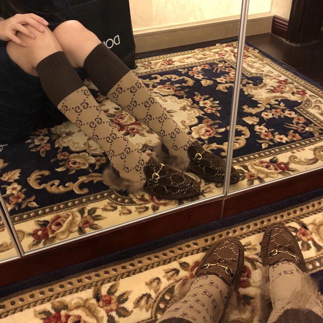 Gucci古奇 羔羊毛穆勒鞋双GG绣明星同款(图3)