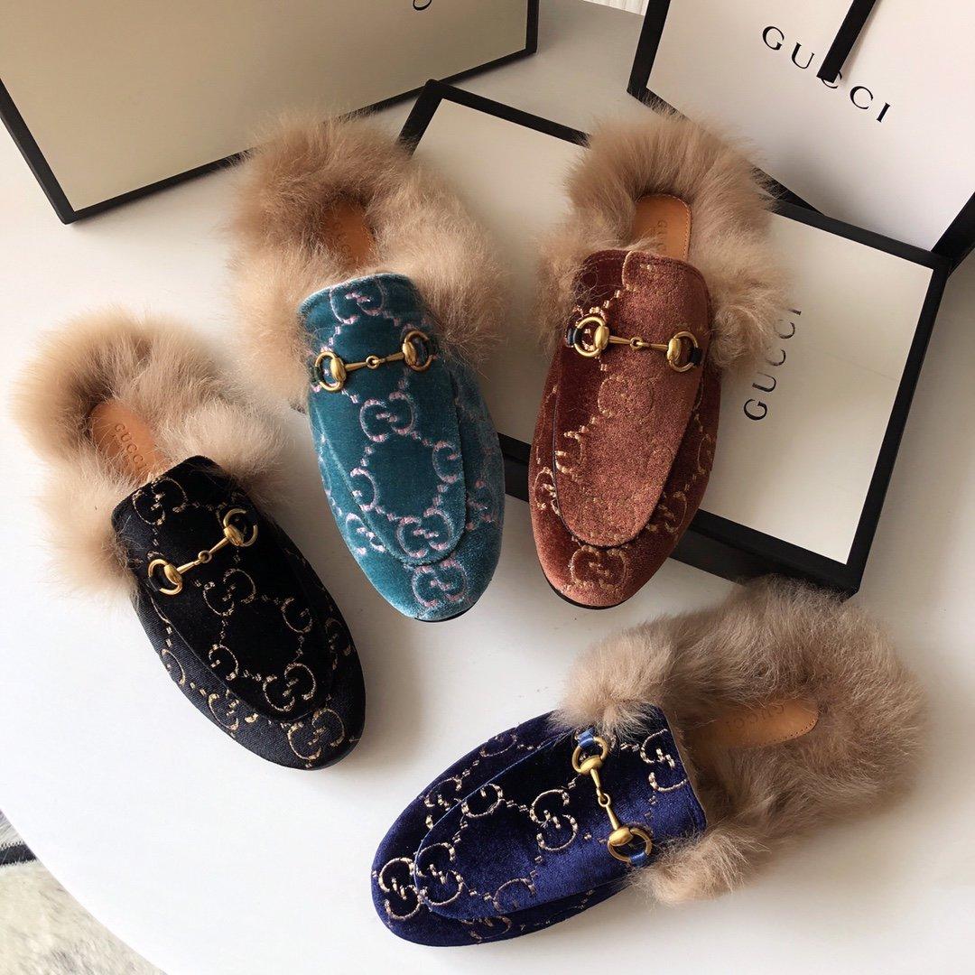 Gucci古奇 羔羊毛穆勒鞋双GG绣明星同款(图5)