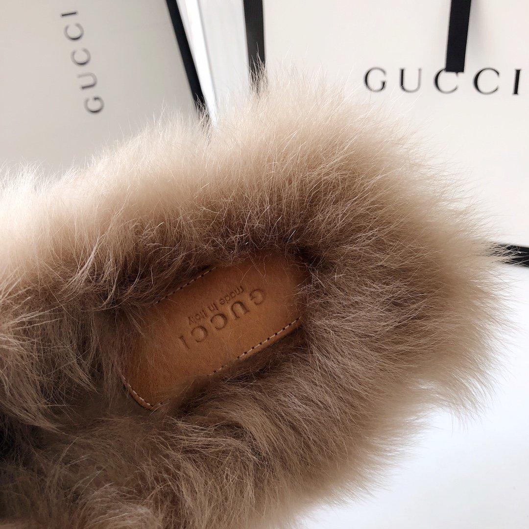 Gucci古奇 羔羊毛穆勒鞋高密度天鹅绒(图12)