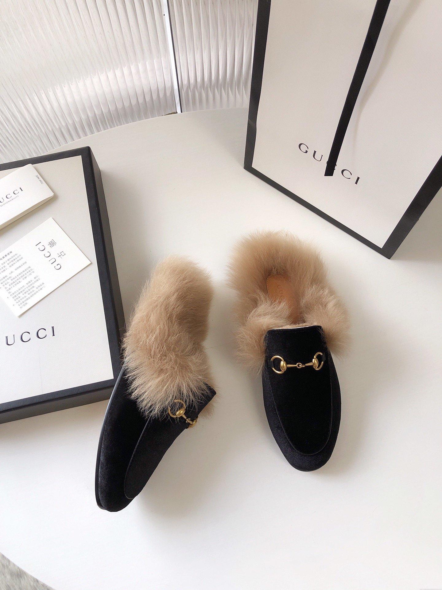 Gucci古奇 羔羊毛穆勒鞋高密度天鹅绒(图6)