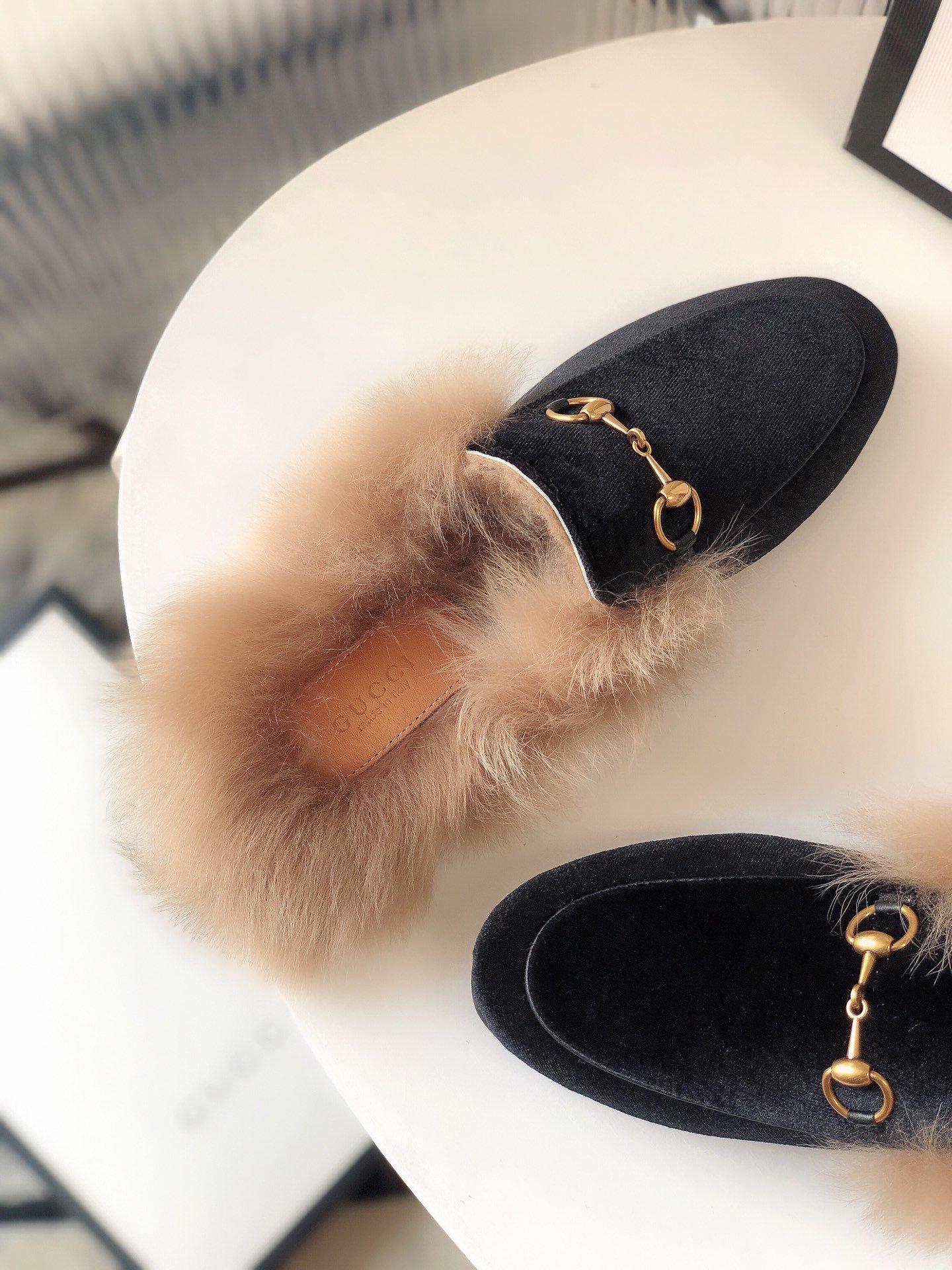 Gucci古奇 羔羊毛穆勒鞋高密度天鹅绒(图7)