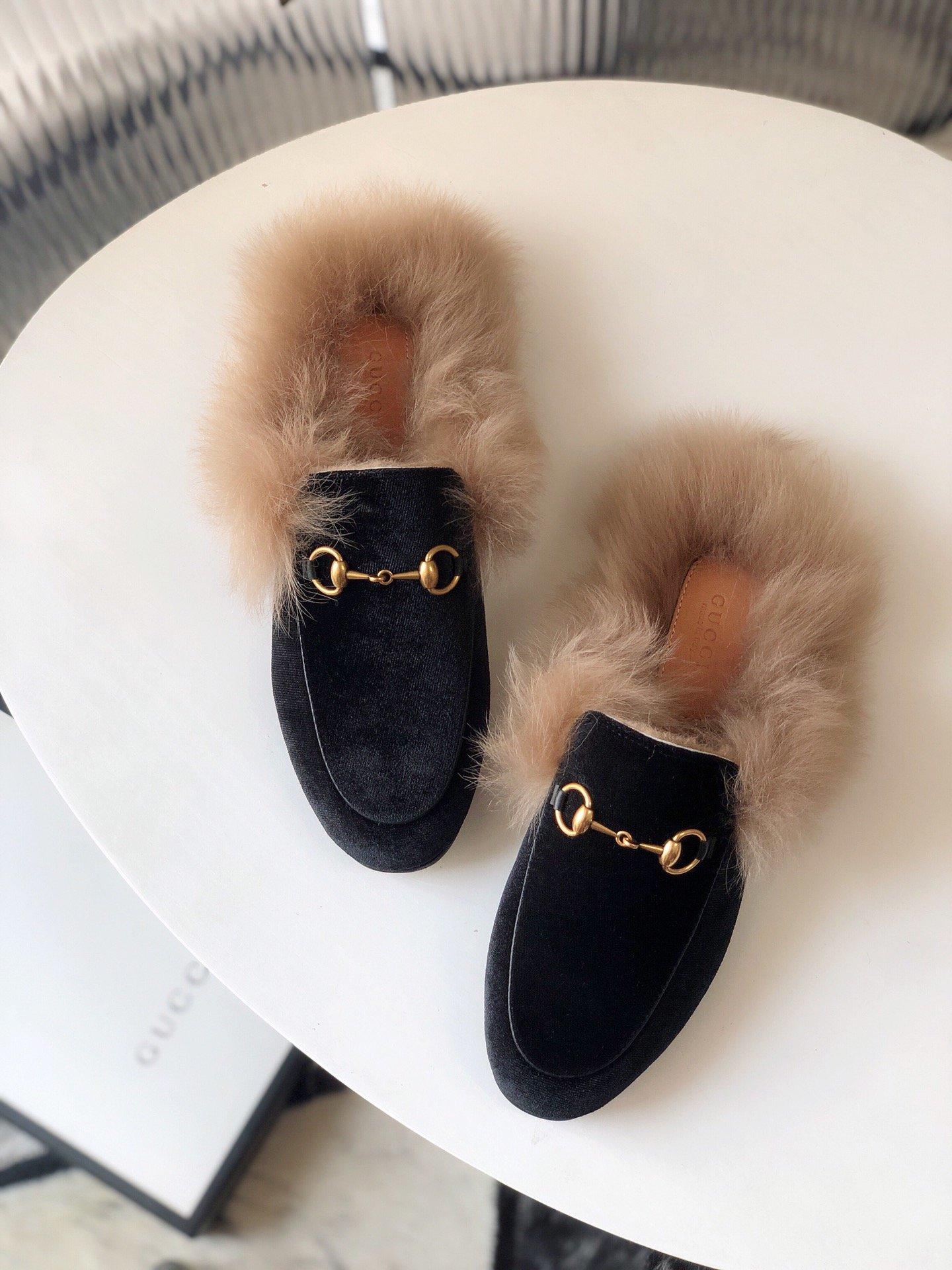 Gucci古奇 羔羊毛穆勒鞋高密度天鹅绒(图8)