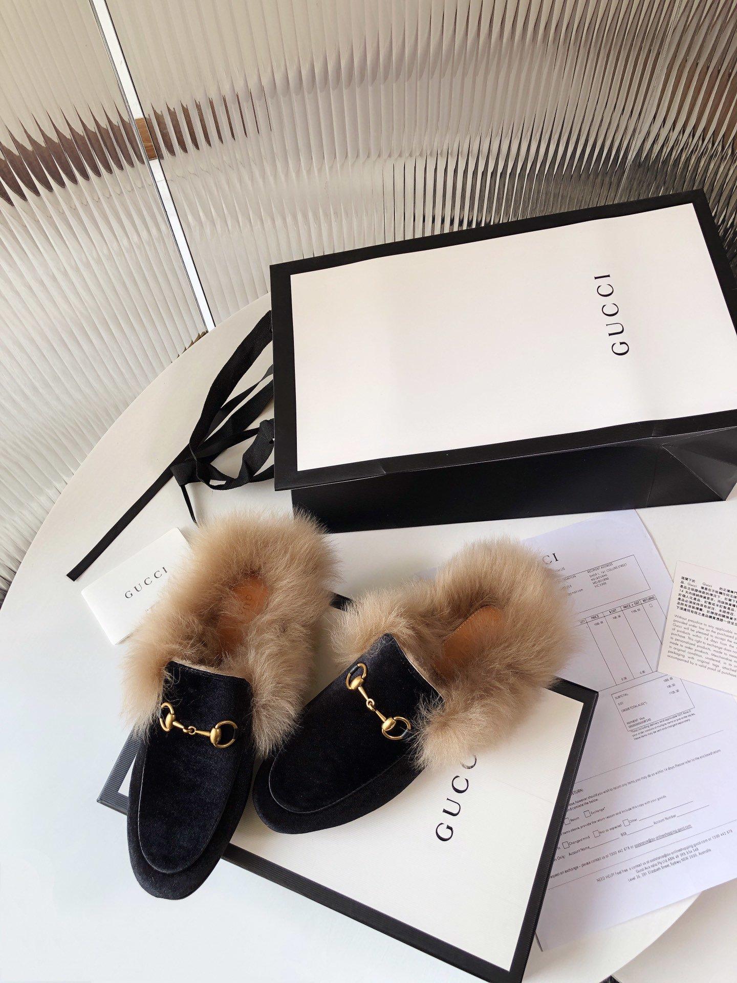 Gucci古奇 羔羊毛穆勒鞋高密度天鹅绒(图13)