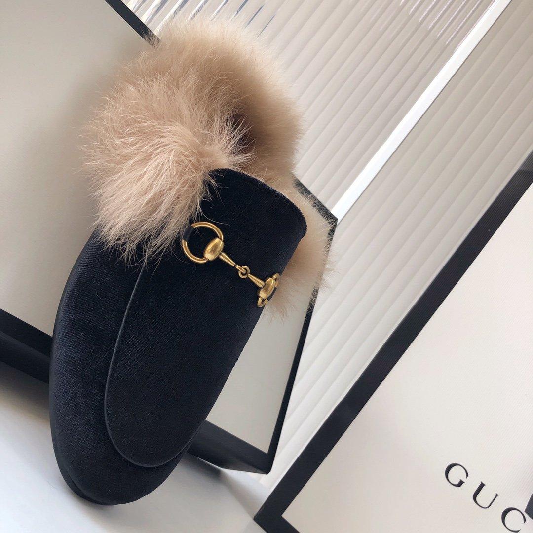 Gucci古奇 羔羊毛穆勒鞋高密度天鹅绒(图11)