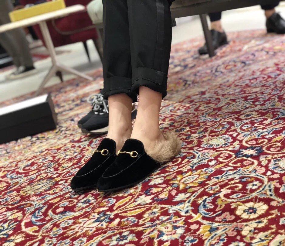 Gucci古奇 羔羊毛穆勒鞋高密度天鹅绒(图5)