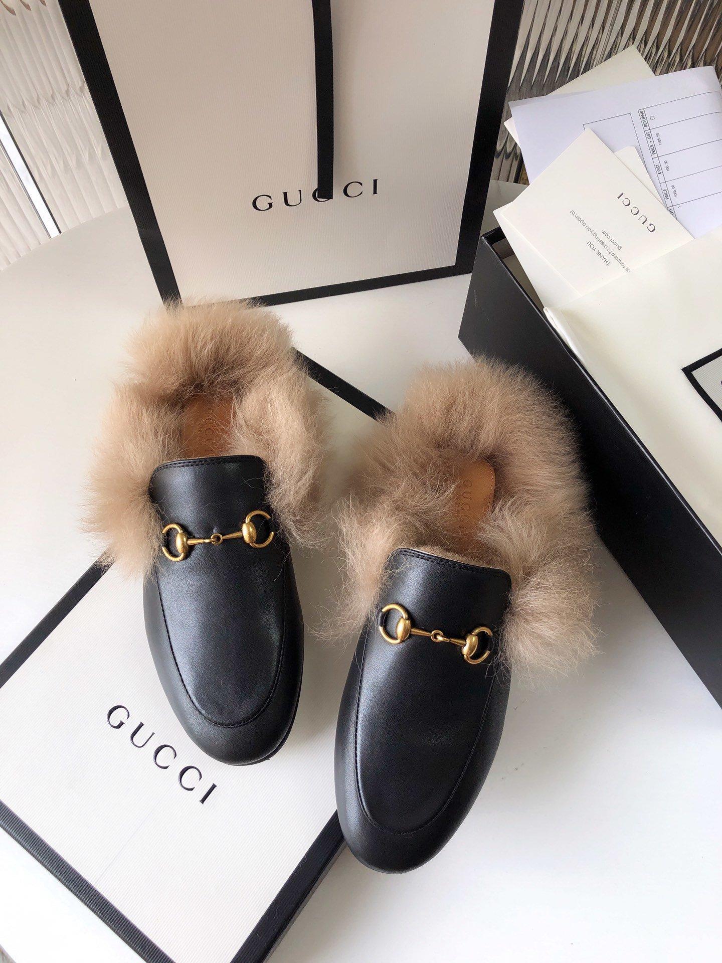 Gucci古奇 羔羊毛穆勒鞋明星同款(图9)