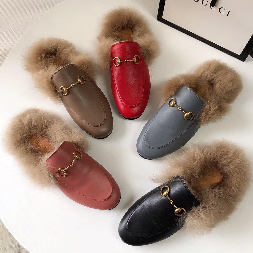 Gucci古奇 羔羊毛穆勒鞋明星同款(图8)