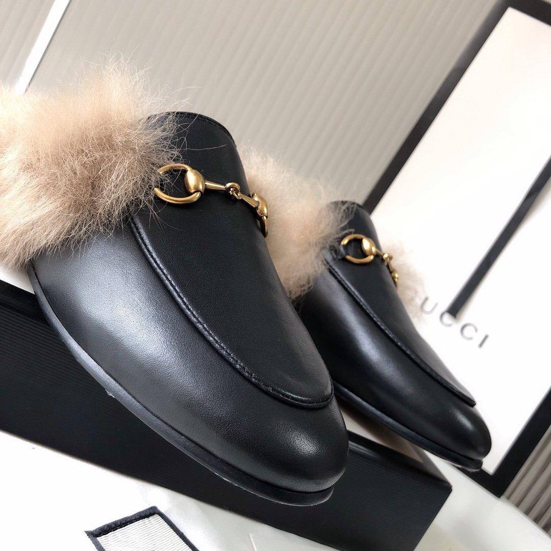 Gucci古奇 羔羊毛穆勒鞋明星同款(图11)