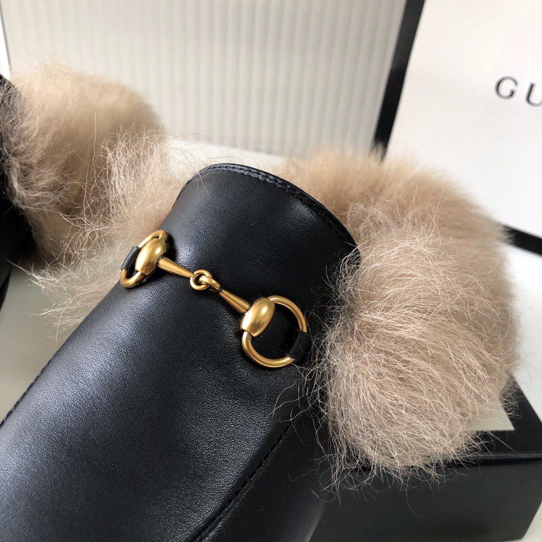 Gucci古奇 羔羊毛穆勒鞋明星同款(图12)