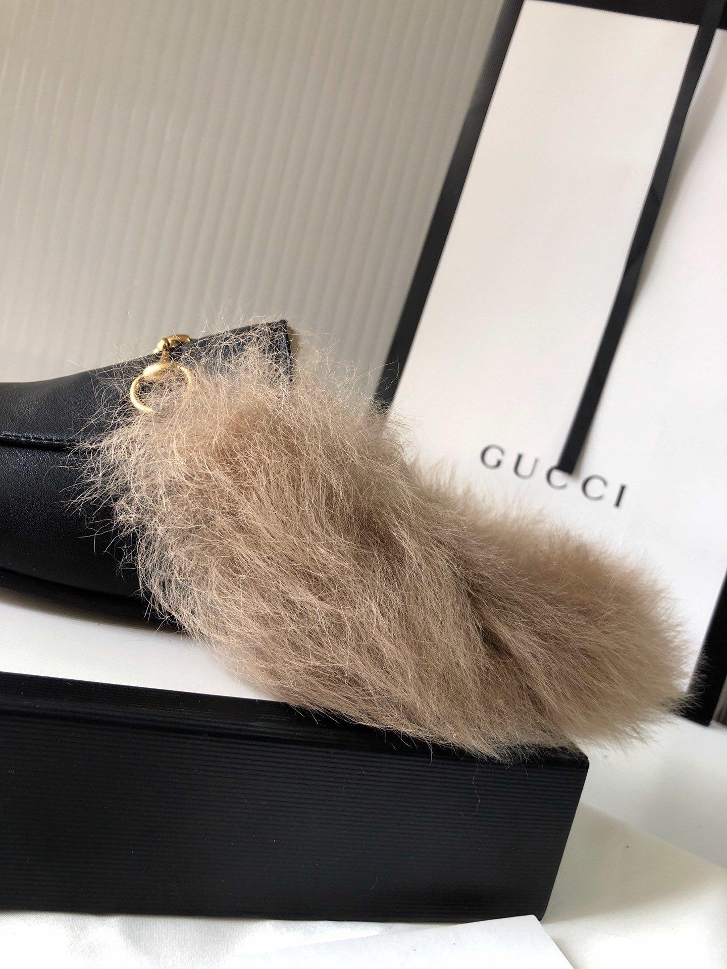 Gucci古奇 羔羊毛穆勒鞋明星同款(图13)