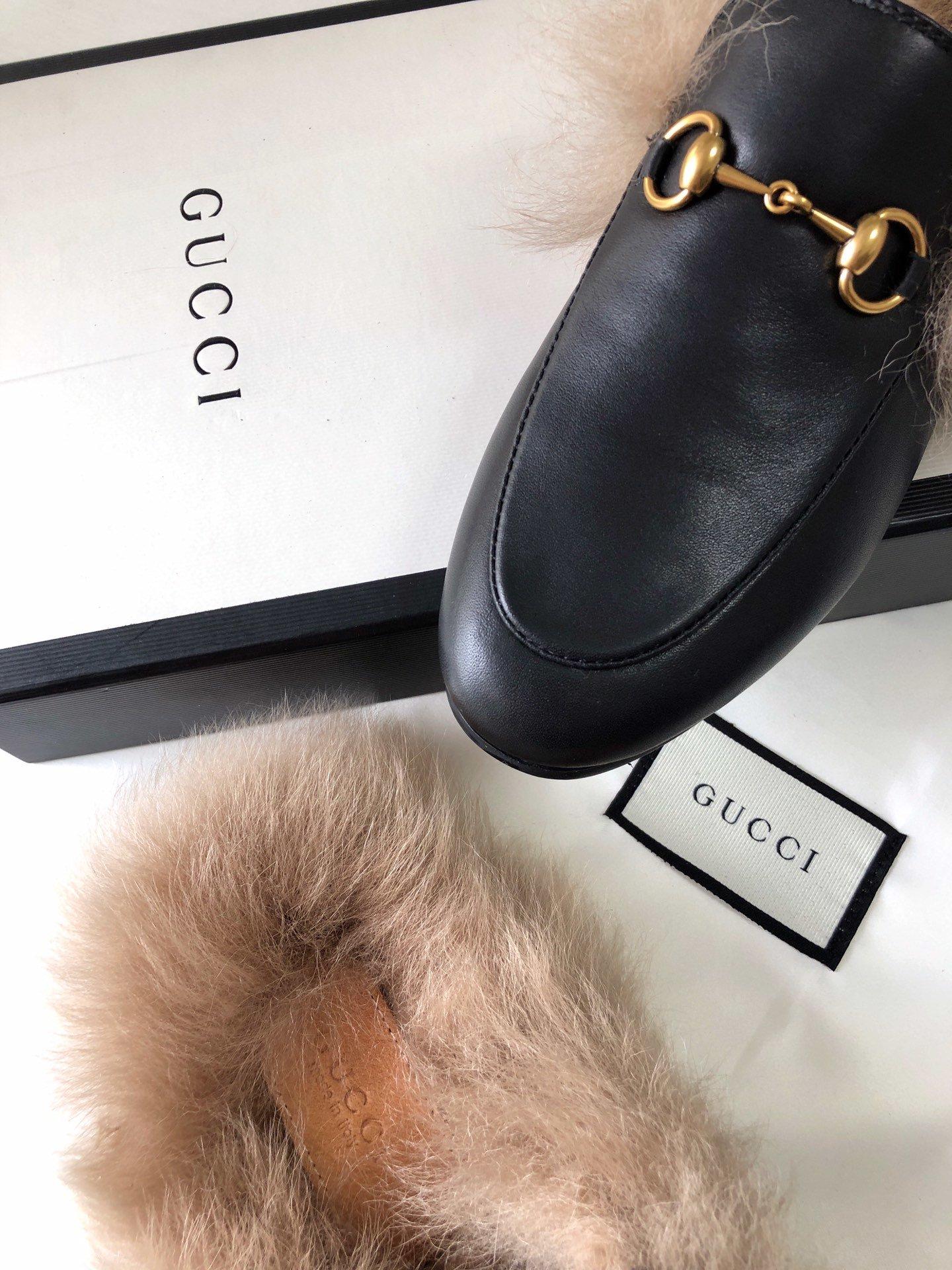 Gucci古奇 羔羊毛穆勒鞋明星同款(图14)