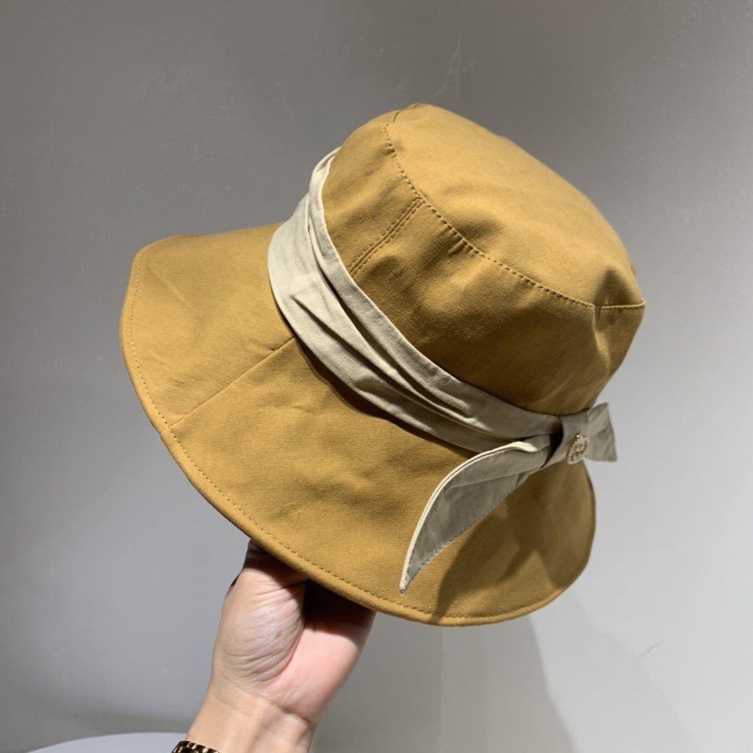 Gucci古琦新款蝴蝶结渔夫帽帆布面