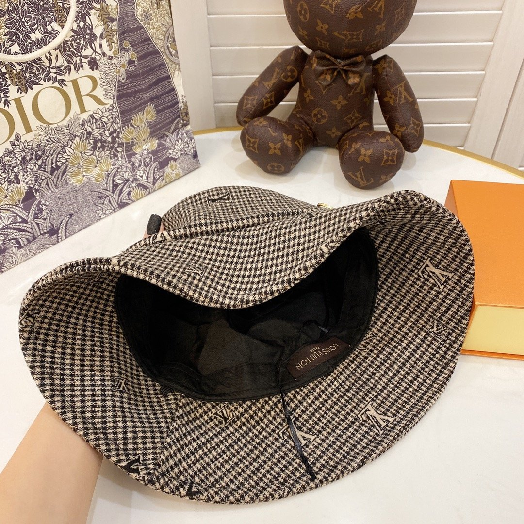 特LV2020新款格纹渔夫帽新材质可