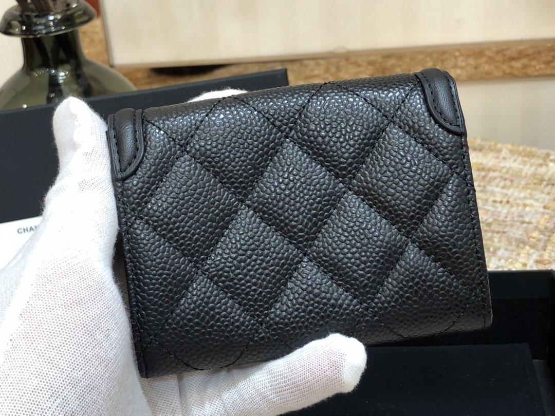 CHANEL 新品 销量版 复古cc 荔枝纹牛皮 翻盖拼色双层卡包(图6)