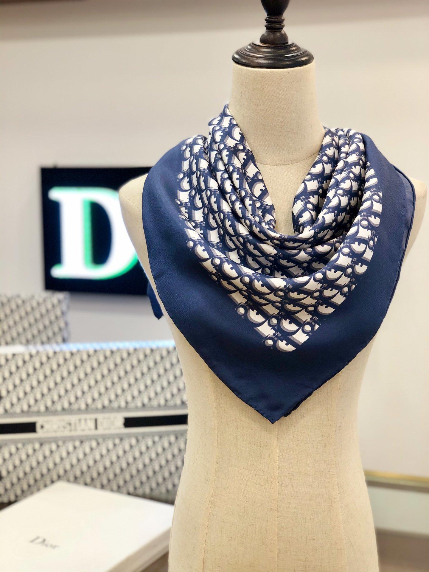 Dior老花印花顶级人字纹真丝方巾(图8)