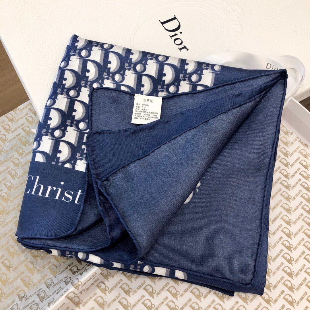 Dior老花印花顶级人字纹真丝方巾(图4)