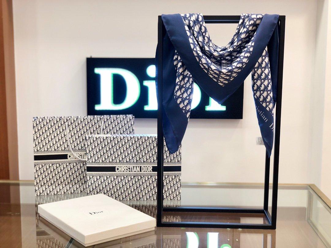 Dior老花印花顶级人字纹真丝方巾(图9)