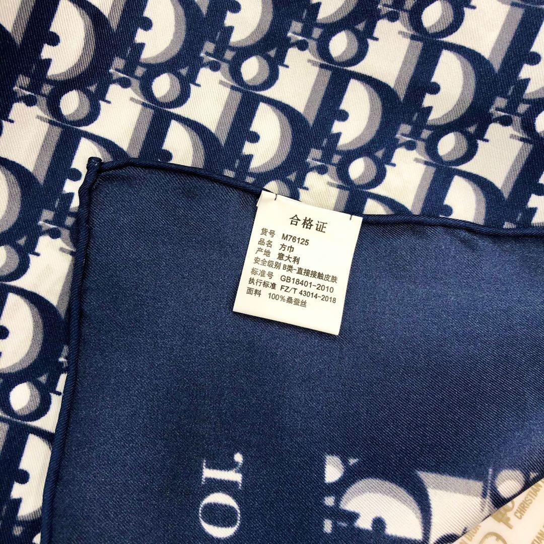 Dior老花印花顶级人字纹真丝方巾(图6)