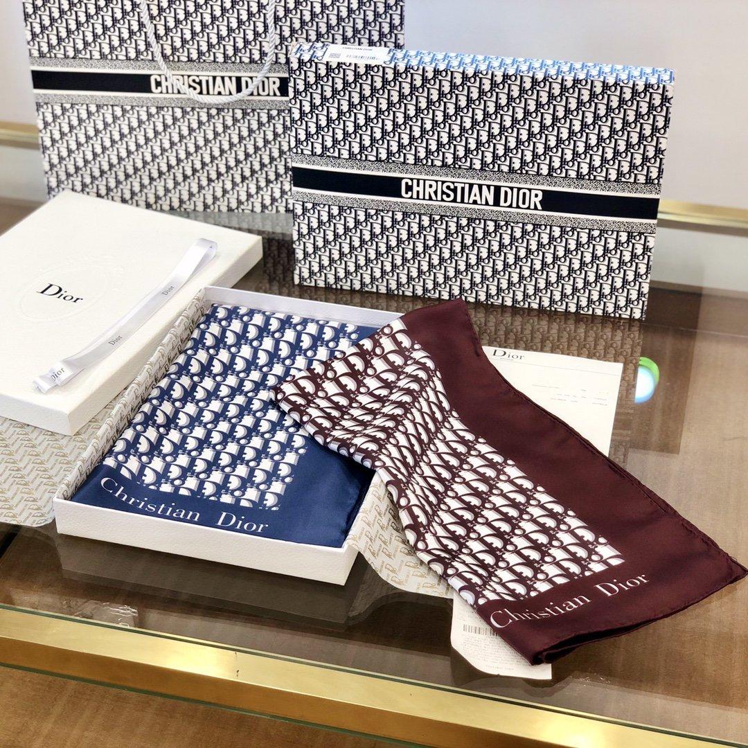 Dior老花印花顶级人字纹真丝方巾(图1)