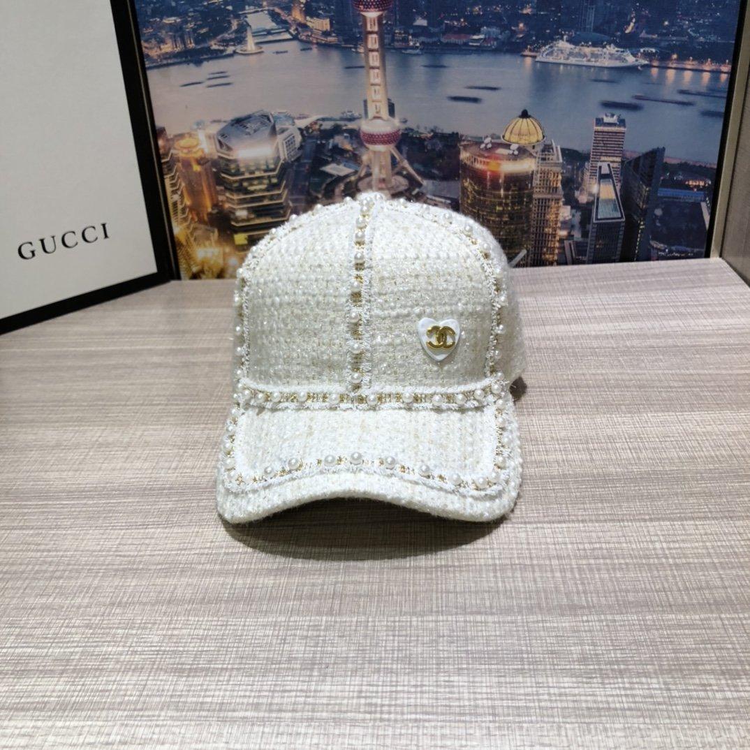 香奈儿2020新款珍珠秋冬甜美棒球帽