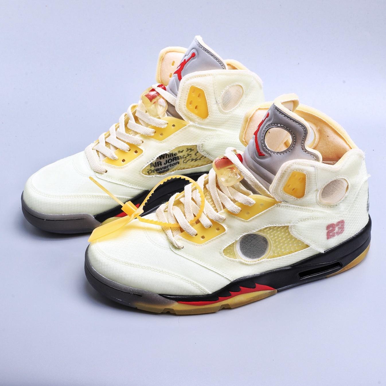 高仿Air Jordan 5 x off white 联名款 AJ5 ow 乔丹5代篮球鞋/