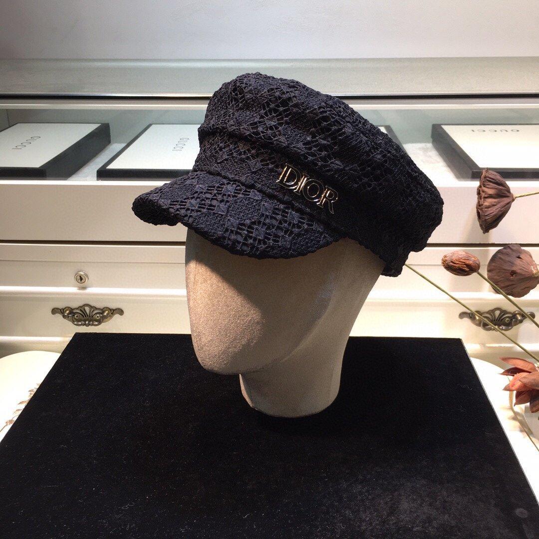 上新Dior迪奥蕾丝立体军帽时尚气质
