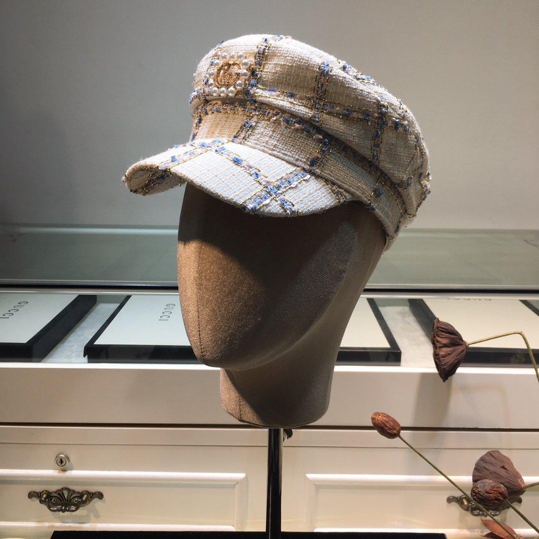 上新GUCCI古奇新款格子海军帽搭配