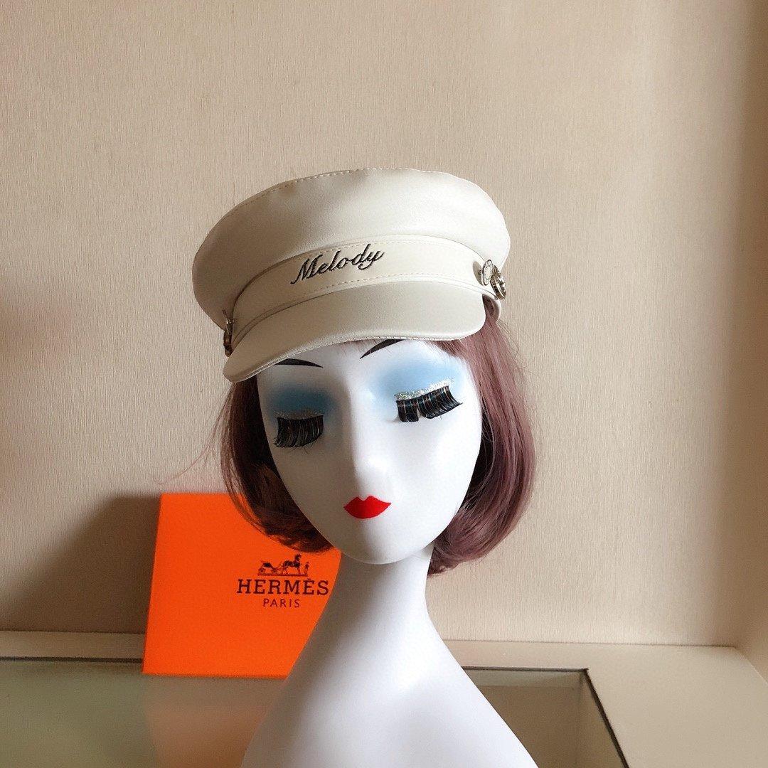 Hermes爱马仕皮军帽文艺画家帽范