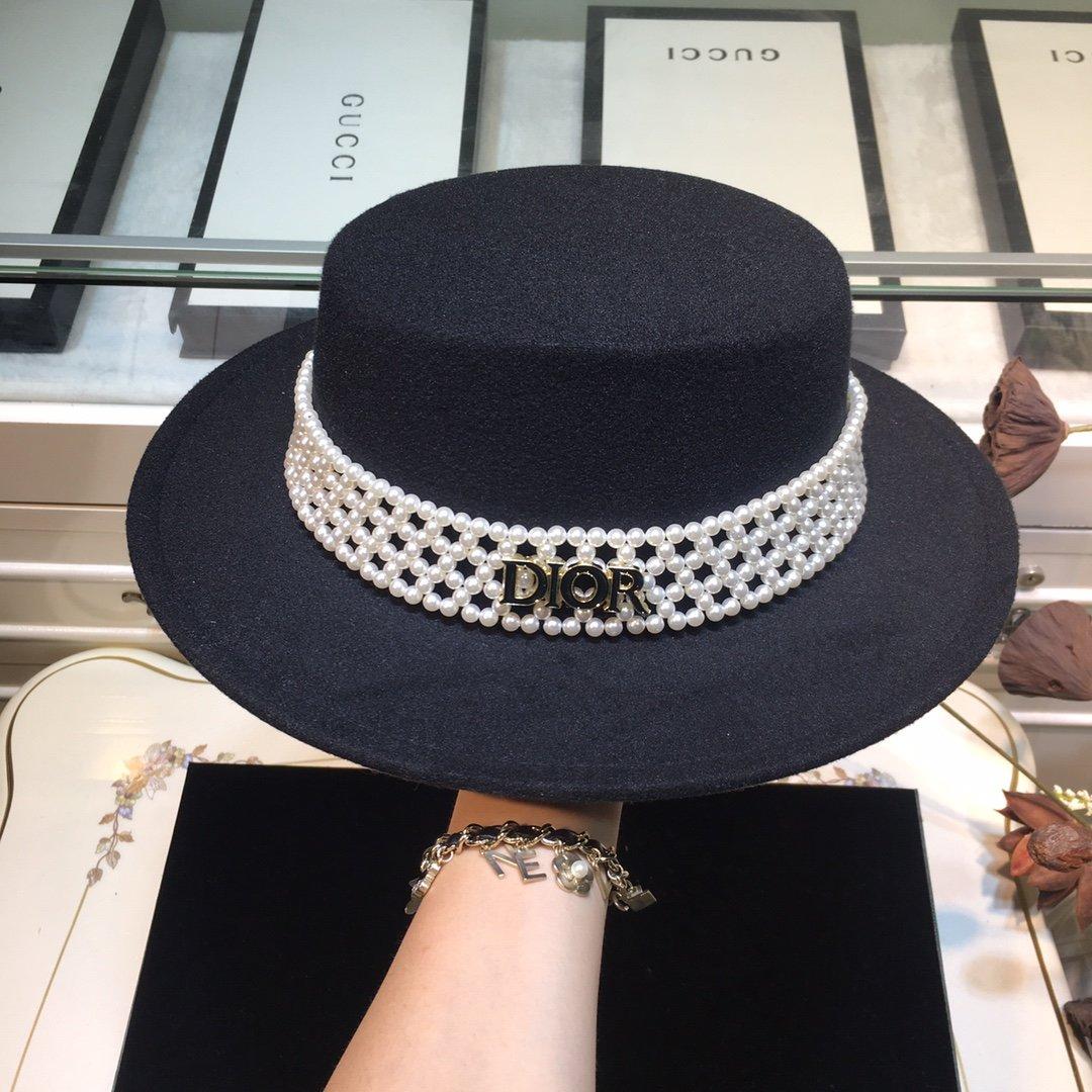 上新Dior迪奥新品毛呢平顶礼帽秋冬