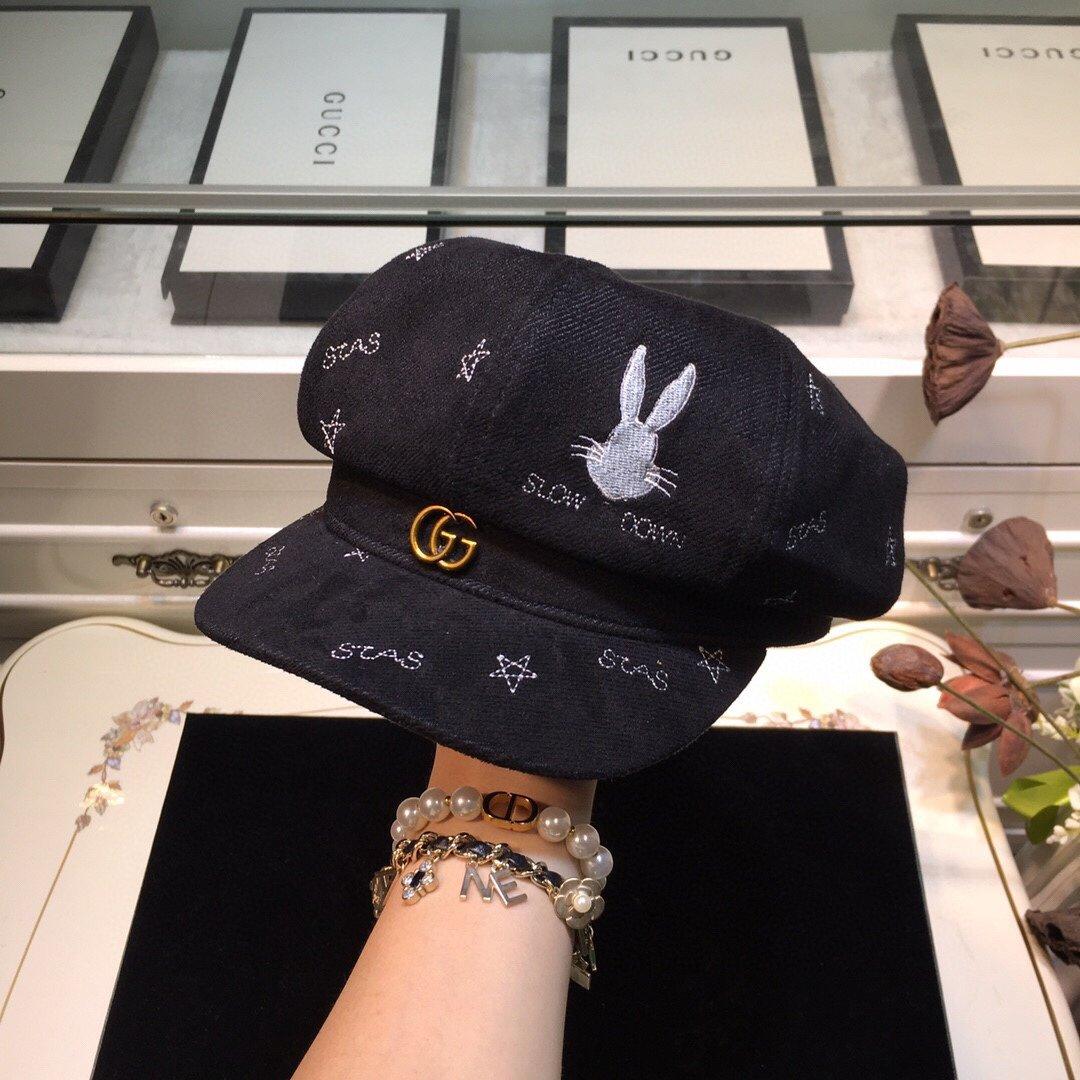 上新GUCCI古奇兔子涂鸦时尚八角帽