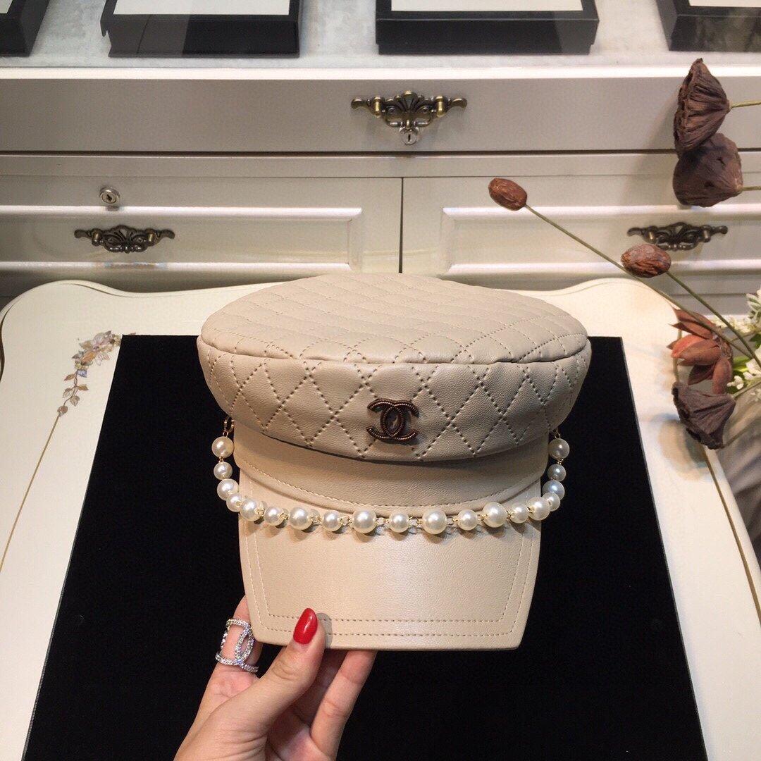 上新香奈儿CHANEL小香皮军帽珍珠